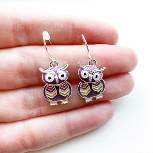 Adorable purple & colorful owl drop earrings